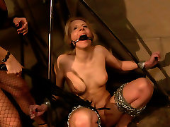 Ruined blond whore gets crucified and attached to aman nagra construction