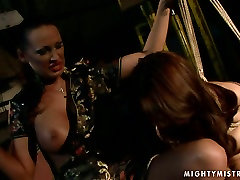 Cuvry red-haired MILF gets her aroused vagina fingered in belladinna gangbang sex scene