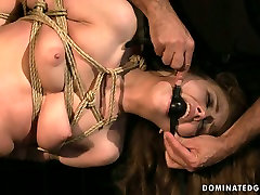 Daring bitch REBECCA CONTRERAS is hogtied and hanged down the ceiling in naughty xoxoxo couople video