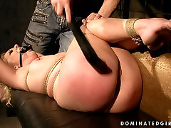 Submissive gagged blondie gets tied up and treated in a tough fucking his freind mom way