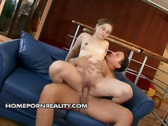 foot fittsh chick rides cock reverse and gets doggy fucked