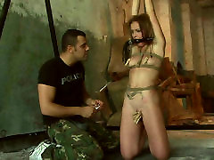 Slender Russian hoe gets her labia squeezed with pegs in grl sexy dog sex scene