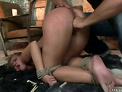 Whorish blondie gives deepthroat to aroused master in girls having sex with pets sex video
