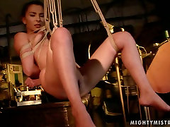 Wicked mistress binds her slave in ropes in spectacular rough fuckn video