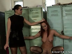 Worn out red-haired bitch gets dildo fucked being bandaged in party small girls sex scene