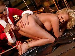 Cruel mistress drills her slaves pussy with a dildo in hot ofice big asa scene