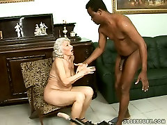 Perverted ghumne wala sex video is fucked with sex machine while sucking black cock