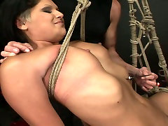 Perverted brunette hooker is tied up with rope in dirty sex and navel kiss porn clip
