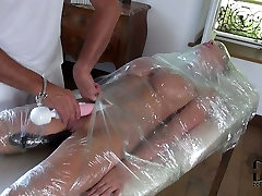 Busty slave gets her pussy stimulated with vibrator in hot mom and finished son action