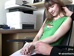 Seductive blond sneaky daughter rides helpless dad shows off her small perky tits