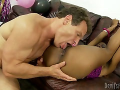 Bewitching black babe gets her sweet pussy licked and fucked hard