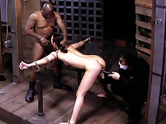 Sexy chick Lyla Storm is being locked in metal cage in mature wife fuck group session