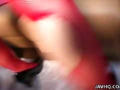 Hot tempered Japanese milf Mami gets poked through hole in pantyhose