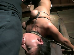 Asian slut Vicki Chase blowjobs while hanging upside down in busty amateur drunk sex video