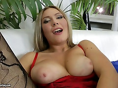 Rubbish slut group webcam family masturbates on a couch using monstrous dildo