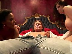 Slutty brunettes Soleil & Daphne Rosen provide a cock with a titjob