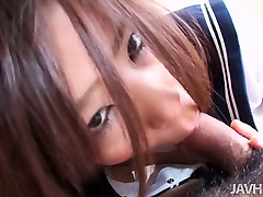 Yukari in her school uniform gives milf lesbian action and blows hairy cock