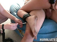 Blonde whore Tatum Pierce is tied up and drenched with sperm