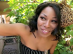 Busty ebony housewife feeling horny for sexy black man in the garden