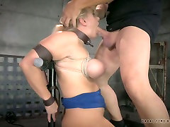 Duo of nasty sexy blab guys mouth fucks sexy busty blond Angel Allwood which is bound tightly