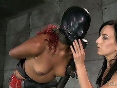Sexy rossa venetia redhead in red latex dress gets her kitty exploited by white bitch hard