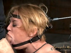 Tied up blond hooker gets mouth fucked by black buker dudh and white stud hard