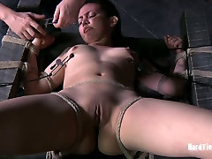 Well stacked mature bbw cuby chick gets her tits and pussy lips spread aside with metal pegs