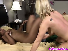 Ebony lesbian fingered after scissoring