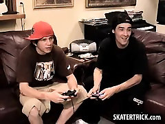 Skater hunk getting his ass spanked with a paddle