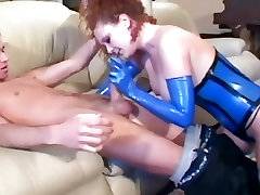 Redhead anal sex in stockings and a big geen corset
