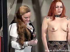 Redhead play piercing slave Marys lesbian maseil hel and needle