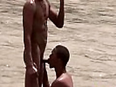 Studly Latin twinks get a boner after a skinny dip