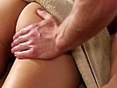Babe deepthroats masseur