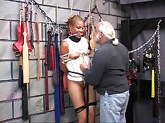 Cute young black stockings gaters babe gets restrained in Master Len&039;s basement dungeon