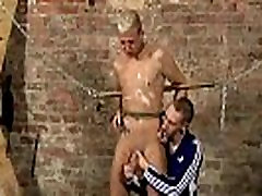 Gay bondage in the wood Drained Of Cum Through
