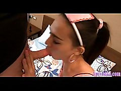 Ladyboy maid cleans a white cock with her mouth before anal