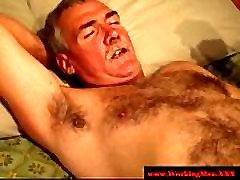 Straight mature bears enjoy anal play