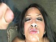 Hot ebony chick in interracial gangbang 5