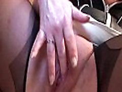 Erotic white girl wife babe in stockings masturbating with vibrator