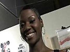 Hot ebony chick in interracial gangbang 19