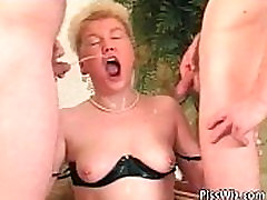 Chubby ripping cloth handjob slut get fucked by two