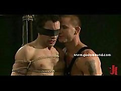 Man in ropes and blindfolded in bdsm sex