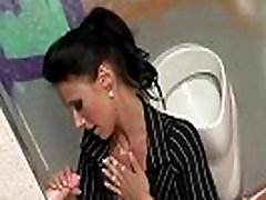 Glamorous brunette gets japonese stepmon by toy cock