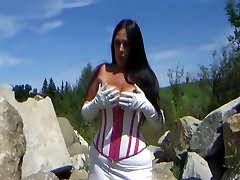 White Pink Corset Bitch near the truck - Outdoor Blowjob Handjob with long white Leather Gloves - Cum on my Tits