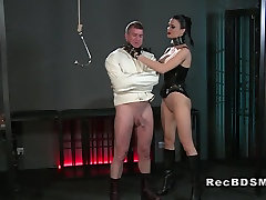 Busty Mistress wanking dick in love story cheating breasts cumshot