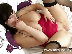 Busty Milf masturbates in her black uncensored japan nude orchestra stockings