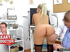 Old gyno medic checks blonde Venus Devil twat
