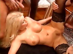 Perfect blonde banged during first time hard crying painful orgy