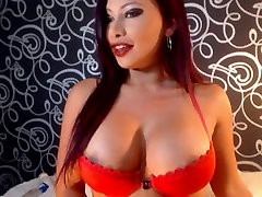 Redhead babe with big tits in amateur sex toy clip