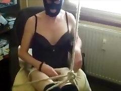 black nylon mask and selfbondage